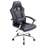 Poltrona Gaming INDOS, Design Sportivo, Grande Comfort, Base in Metallo, in Pelle Nero / Marrone