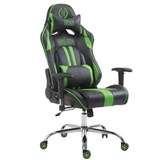 Poltrona Gaming LOGAN, Reclinabile, XXL, con Cuscini, in Pelle, colore Nero/Verde