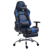 Poltrona Gaming LOGAN con Poggiapiedi, Reclinabile, con Cuscini, in Pelle Nero/Blu