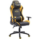 Sedia Gaming TURBO, Cuscino Lombare e Cervicale, XXL, in Pelle, Nero/Giallo