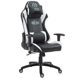 Sedia Gaming TURBO, Cuscino Lombare e Cervicale, XXL, in Pelle, Nero/Bianco