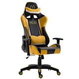 Sedia Gaming MONZA, Design Sportivo, con Cuscini, in Pelle, Nero e Giallo
