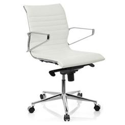 Sedia per Ufficio o Studio CHICAGO 10, Design moderno ed elegante, in Vera Pelle color Bianco