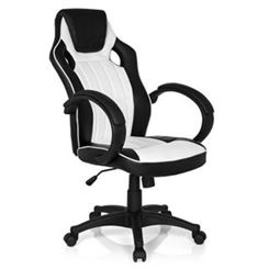 Sedia Gaming RACER GAMING PRO, Design Sportivo con Cuciture a vista, Prezzo Incredibile, in Pelle color Nero/Bianco