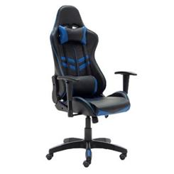 Sedia Gaming REGINA, Reclinabile, Supporto Lombare e Cervicale, in Pelle, Nero e Blu
