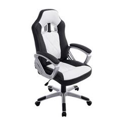Sedia Gaming SAINZ, XXL, Comoda e Robusta, in Pelle, Nero e Bianco